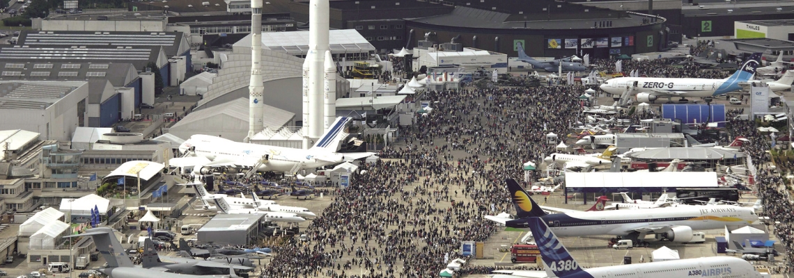 Picture of airplanes and rockets at Paris le Bourget convention & exhibition centre