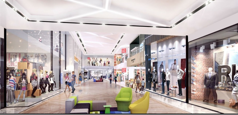 3d rendering of a shopping alley in gropius renovation project