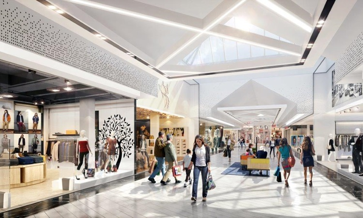 3d rendering of a shopping alley in gropius project