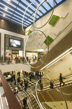 Escalors and interiour design at Palais Vest shopping centre