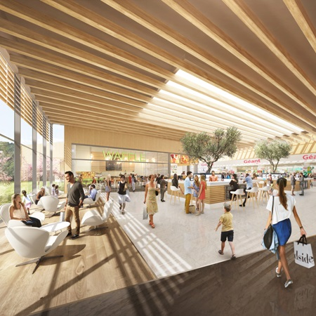 3d rendering of the central plaza Le Marché in Val Tolosa project