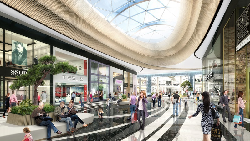 3d rendering of resting areas of mall of the netherlands project