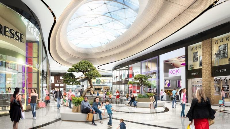 3d rendering of a shopping alley of mall of the netherlands project